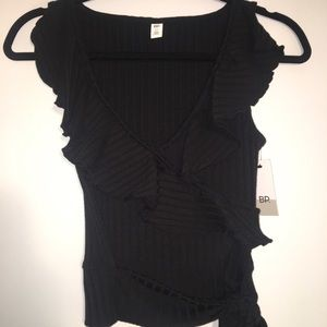 NWT BP. Black tie at side ruffle top Women's XS